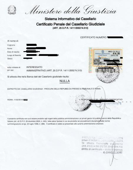 Criminal record certificate - Certificato penale del
