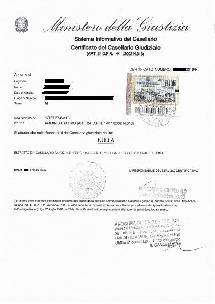 Certificato Casellario Giudiziale - Example of Criminal Record Certificate